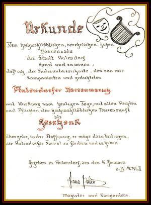 Schenkungsurkunde des Aulendorfer Narrenmarsches von Franz Bauer an die Narrenzunft Aulendorf