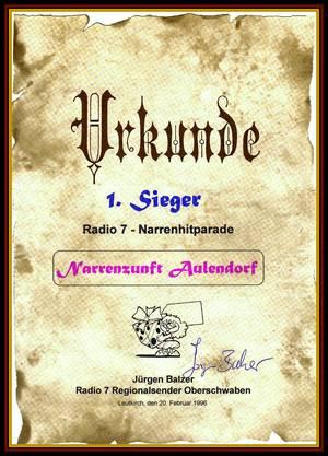 1996: 1.Platz bei der Narrenhitparade von RADIO 7